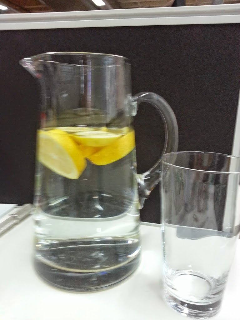 Adding lemon to a jug of water gives it improved flavour