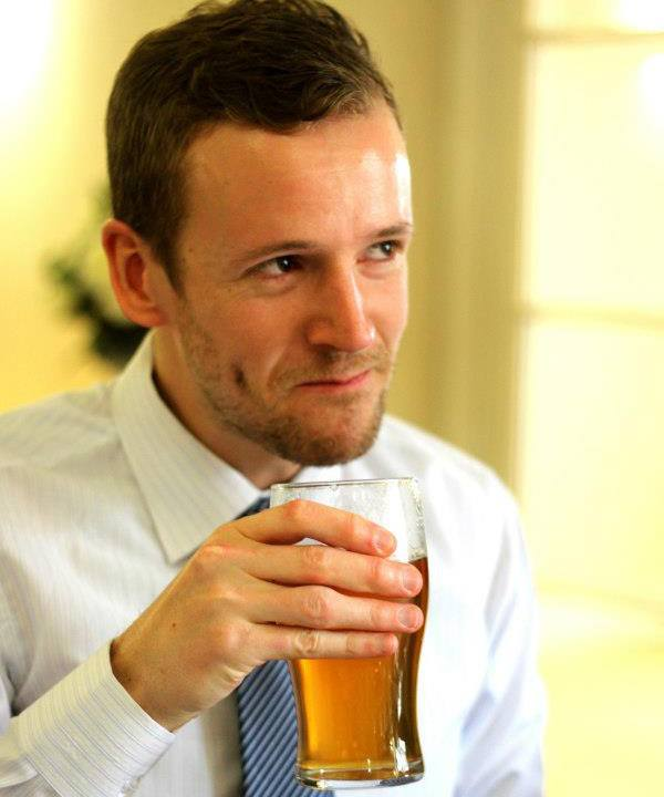 Dave Mace drinking a beer
