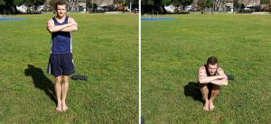 Dave Mace performing close leg squats