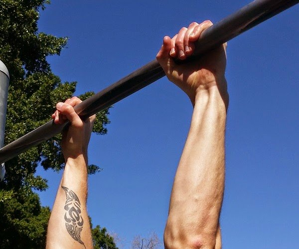 Dave Mace demonstrated overhand grip for pull-ups