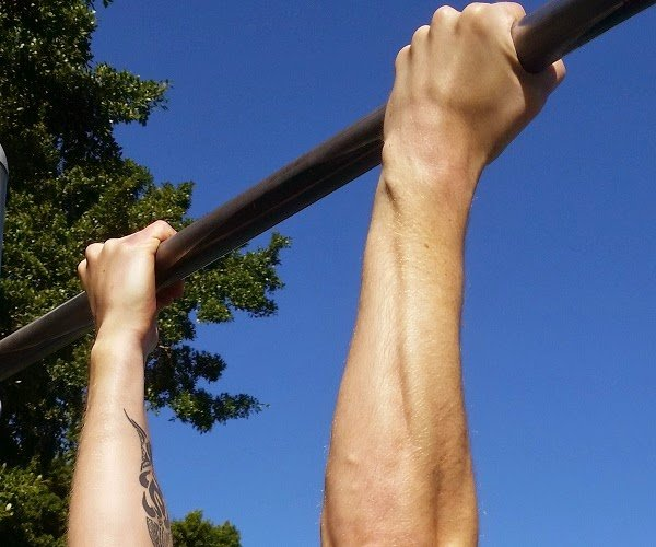 Dave Mace demonstrated underhand grip for pull-ups