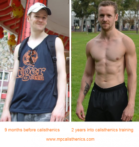 Dave Mace, before and after calisthenics