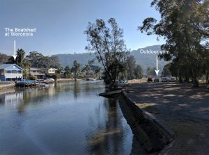The Boatshed and location of outdoor gym