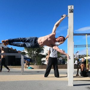 Nathan Leith demonstrates calisthenics full human flag at Bondi
