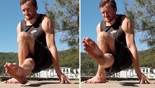 Assisted Deep Dragon Pistol Squat With Leg Raise